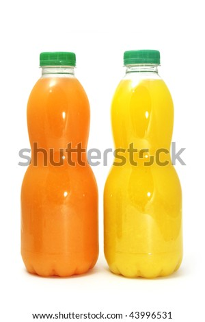 a bottle of juice on a white background - stock photo
