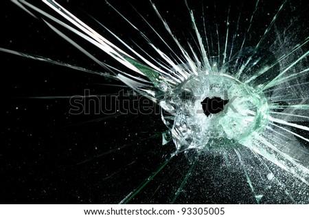A broken car windscreen - stock photo