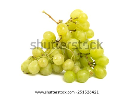 a bunch of green grape with isolated white background - stock photo
