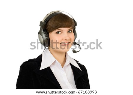 a charming young woman with telephone headset - stock photo