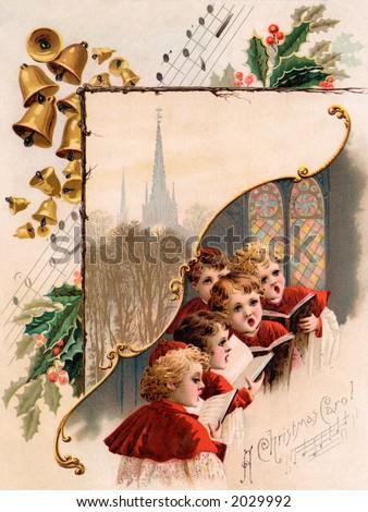 ''A Christmas Carol'' - circa 1890 vintage greeting card illustration. - stock photo