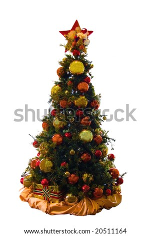 a christmas tree decorated with baubles - stock photo