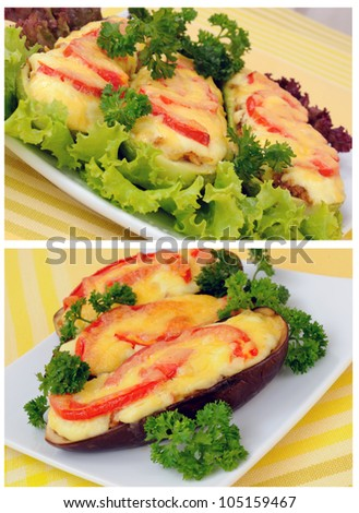 A collage of stuffed eggplant and zucchini with tomato and cheese