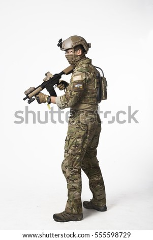 A Cosplay men in uniform holding simulation gun