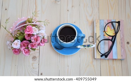 A cup of black coffee for working in morning  - stock photo