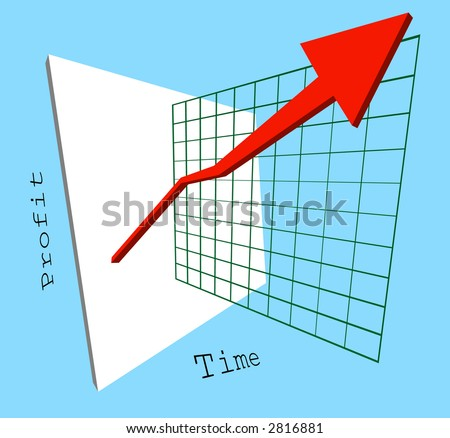 A 3d graph showing profits shooting up jumping out of the screen.  Raster version - stock photo