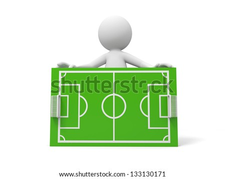 A 3d man standing behind a football field model - stock photo