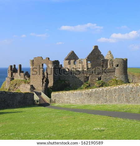 a damaged castle in Belfast, North Ireland - stock photo