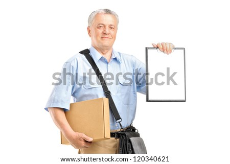 A delivery person holding a clipboard and box isolated against white background