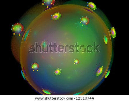A fractal rendering of a germ or bacteria. - stock photo