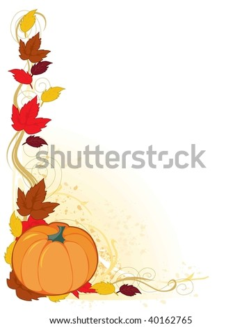 A frame with autumn leaf and a pumpkin in the corner
