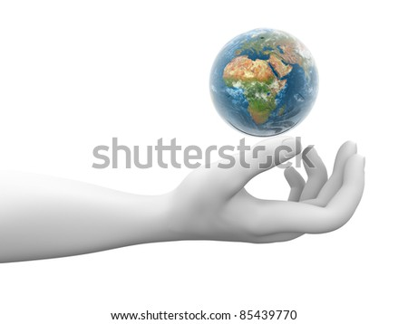A hand and earth globe. 3d render illustration