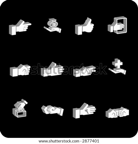 A hand elements icon set. Raster version - stock photo