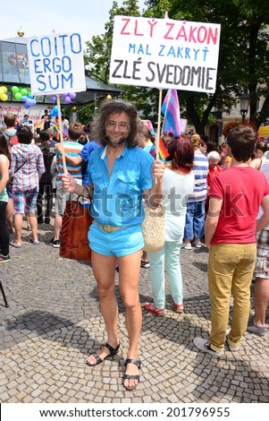 A hippies man posing at the Gay Parade on Bratislava Rainbow Pride, on June 28, 2014 in Bratislava, Slovak Republic.