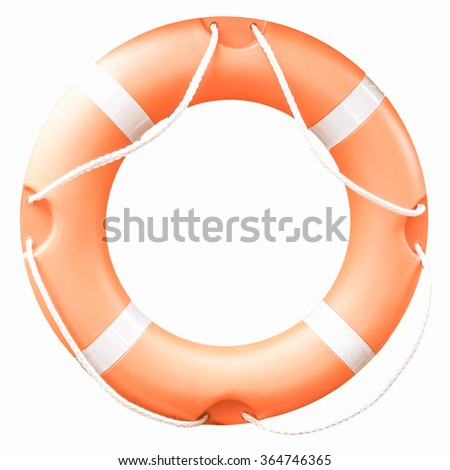 A life buoy for safety at sea isolated over white background vintage - stock photo