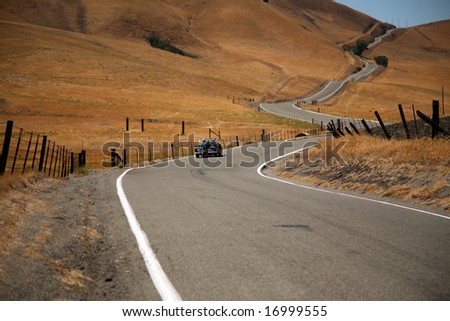 """a Long and Winding Road  """"Patterson Pass road from Livermore to I5"""" - stock photo"""