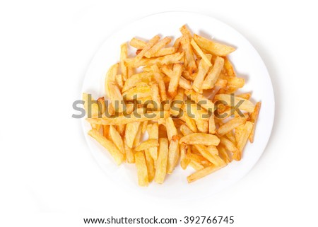 a lot of delicious french fries cooked at home on a white background.