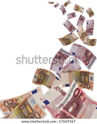 a lot of flying euro banknote on withe background - stock photo