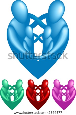 A loving protective family forming a heart shape. Raster version - stock photo