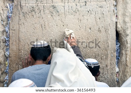 a man in a talit praying at the wailing wall. - stock photo