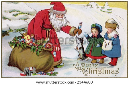 'A Merry Christmas' - Saint Nicholas giving out toys to little children - a circa 1914 vintage greeting card illustration. - stock photo