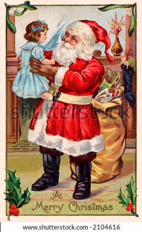 'A Merry Christmas' - Santa Claus holding a little girl - a circa 1911 vintage greeting card illustration. - stock photo