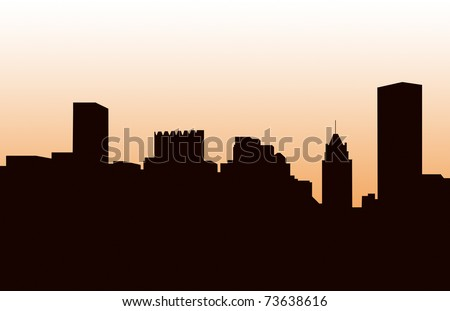 A Panorama of Baltimore's skyline silhouette, - stock photo