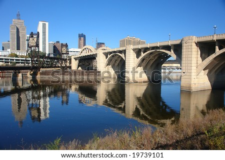 A picture of bridge leading into city of St. Paul Minnesota - stock photo
