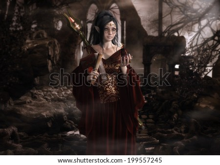 'A Place to Practise', digital illustration of a young, bespectacled elf, clutching her spellbook, in search of a secluded place to practise her fire spells. - stock photo