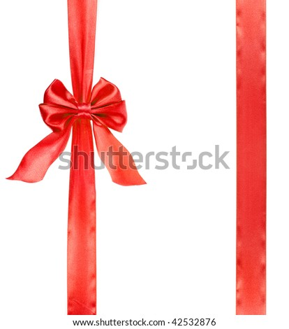 a red ribbon bow over white background