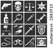 a series of design elements or icons relating to law, order, police and crime. Raster version - stock photo