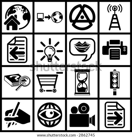 a set of black internet icons. Raster version - stock photo