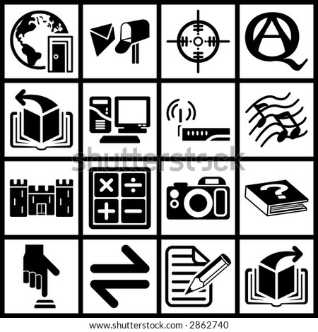 a set of black web icons. Raster version - stock photo