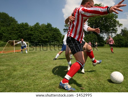 5 a side football match, Sussex, England - stock photo