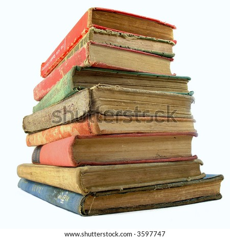 a stack of old book isolated on white - stock photo