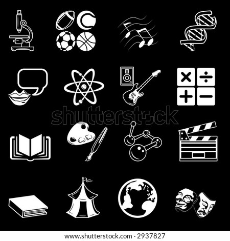 a subject category icon set eg. science, maths, language, literature, history, geography, musical, physical education etc. Raster version