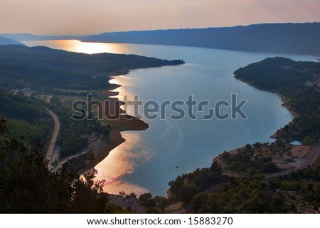 A sunset in Grand Canyon Verdon in Provence - stock photo