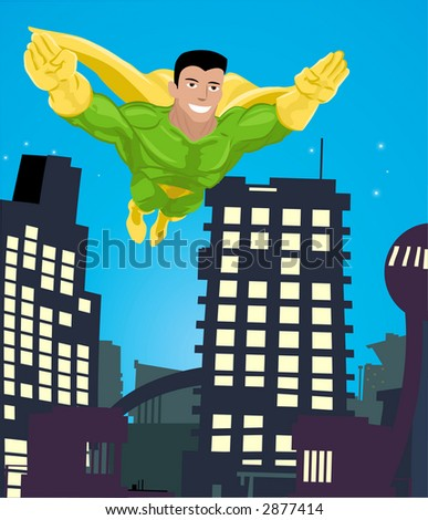 a super hero flying over a city. Raster version - stock photo