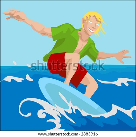 a surfer surfing a wave. Raster version