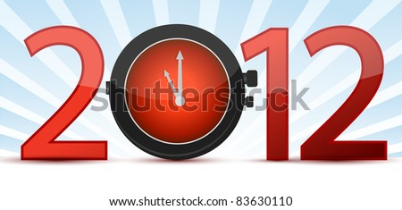 2012 a time concept with clock - stock photo