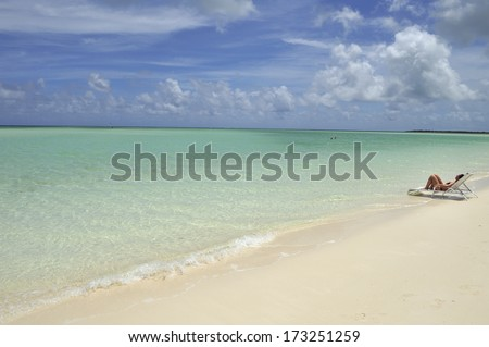 A tropical beach with white sand and turquoise water, Caribbean Sea