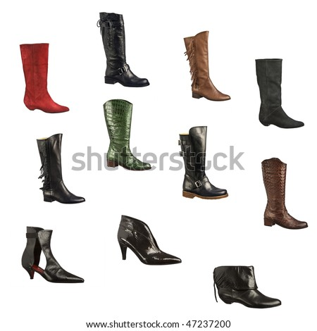 A variety of elegant women boots isolated on white background.