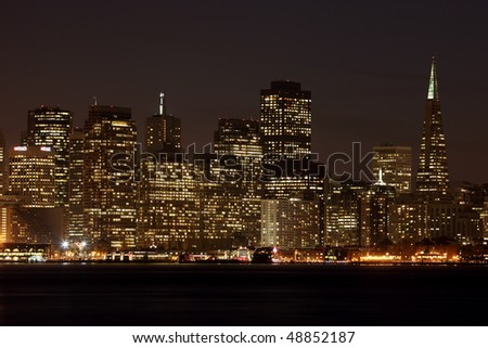 A view of San Francisco downtown  at night - stock photo