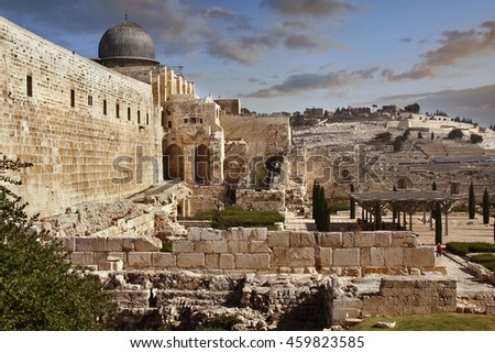 A view of the al-Aqsa Mosque, Temple Mount and ruined Crusader gate in Jerusalem