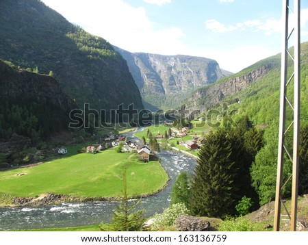 A village near Flam in Norway, - stock photo