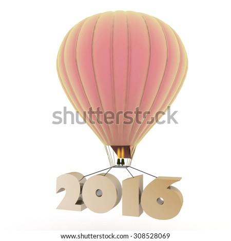 2016 a year flies on a balloon - stock photo