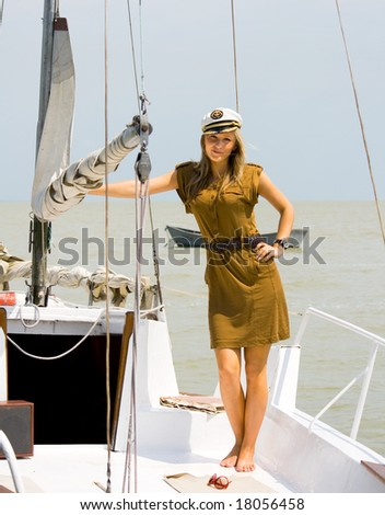 a young girl on the deck yacht - stock photo