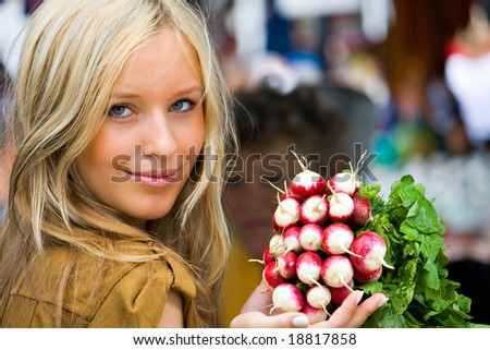 a young girl on the southern market - stock photo