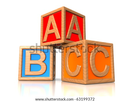 ABC blocks. wooden alphabet for kids. - stock photo
