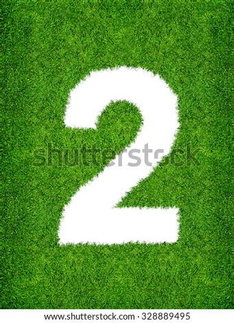 2 - Abstract alphabet of green grass with clipping path. - stock photo